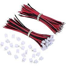 Shappy 20 Sets Micro JST PH 2.0 2-Pin Conector Plug Macho con 10 cm Cable de Silicona Conector Hembra para Baterías Li-Po