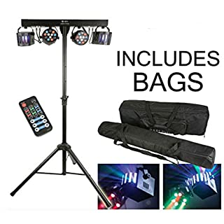 QTX DERBY FX LED Party Bar | Powerful All In One Disco Stage Band DJ Lighting System INCLUDING HAV CARRY BAGS