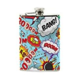 FGRYGF Comic Speech Bubbles Bang! Boom! Stainless Steel Fiole de Hanche, Flagon de Poche, Pot de vin de Camping,Gift for Men Or Women