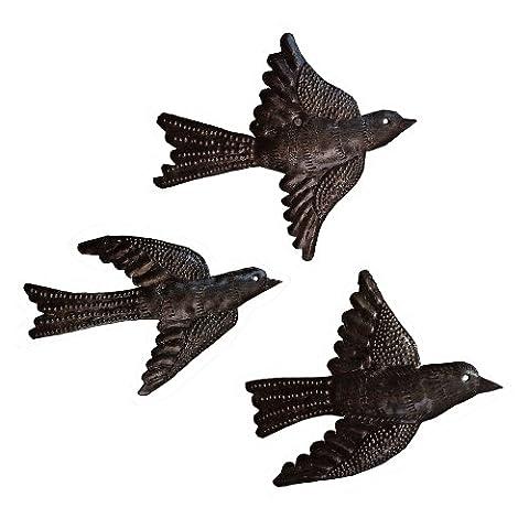 Le Primitif Galleries Haitian Recycled Steel Oil Drum Outdoor Decor, 6.5 by 5-Inch, Three Piece Bird Set