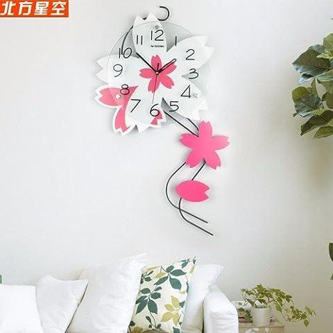 Henggang Un idilliaco flower cat mangiare pesce Home Office Decor moda creativa lo stile di vita moderno decor colorato e singolare dono Mute orologio da parete - Non Disturbare Cat