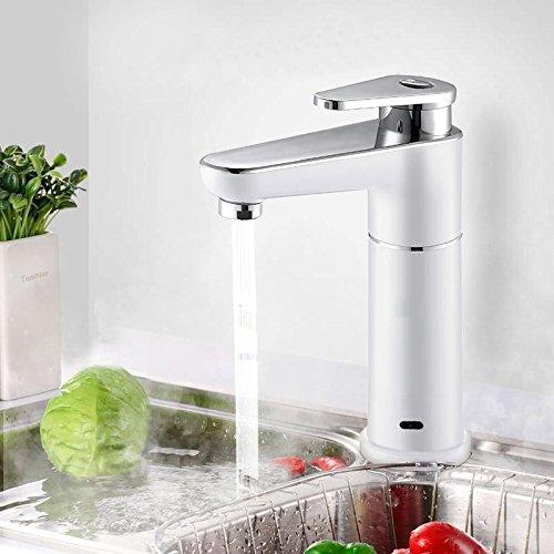Sofort elektrisch Hot Wasserhahn 2,5kW Wasser Heizung Küchenarmatur Einhebelmischer chrom weiß, 90Grad-Kalt- und Warmwasser Wasserhahn - 2