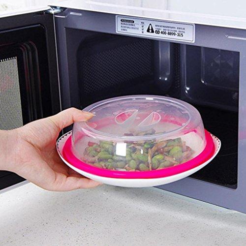 Placa de cubierta de comida de microondas,Amamary Placa de cubierta de comida clara de microondas Protector de salpicadura ventilada Tapa de cocina clara Salida segura 19.5 * 4.5cm