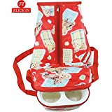 Premium Multi Purpose Teddy Bear Printed Red Nursery Baby Diper Bag | Nappy Bag | Mother Bag With 2 Bottle Holders