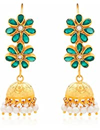 Ahilya Jewels Jhumki collection .925 Sterling Silver and Onyx Jhumki Earrings