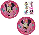 Zak Designs Disney Minnie Mouse Melamine Plates BPA FREE - 2 Plates and 6 Tattoos