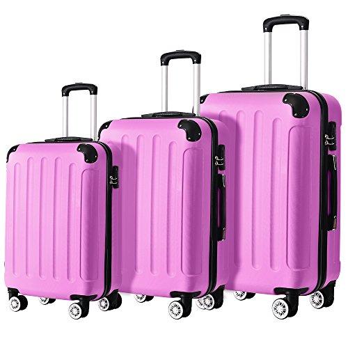 Flieks ReiseKoffer Hartschale Trolley Koffer Gepäck-Sets mit 4 Doppel-Rollen, Set-XL-L-M (Pink, Koffer-Set)