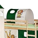 IDIMEX Tunnel für Hochbett Dschungel Rutschbett Spielbett Kinderbett in grün/beige