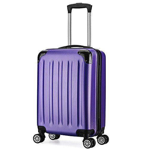 Valise Trolley cabine 55cm bagage a main ABS 4 roues rigide ultra leger 40L(Violet)