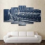YJHCZC Hd Gedruckt Rahmen Modulare Bilder Wandkunst Dekoration 5 Panel Gym Hanteln Wohnzimmer...
