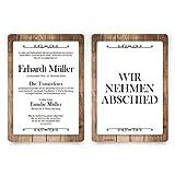 50 x Trauerkarten individuell Trauer Todesfall Beerdigung Karten - Schlichtes Holz