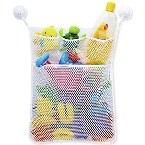 Badewanne Spielzeug Organizer Große Aufbewahrung Mesh, 2Ultra Strong Süchtig Saugnäpfe–für Kinder, Kleinkinder, Erwachsene, spielen für Bad