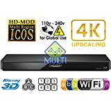 PANASONIC 2K/4K DMP-BDT360 2D/3D Wi-Fi Multi Region Zone Free Blu Ray DVD Player - PAL/NTSC - Worldwide Voltage 100~240V - 1 USB, 1 HDMI, 1 COAX, 1 ETHERNET Connections + 6 Feet HDMI Cable Included.