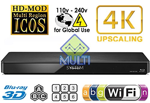 Panasonic 2K/4K DMP-BDT3602d/3d Wi-Fi Multi Region Zone Free Blu Ray DVD Player-PAL/NTSC-Worldwide Voltage 100~ 240V-1USB, 1HDMI, 1coassiale, 1ethernet Connections + 6Feet HDMI Cable included., [Importazione di UK]