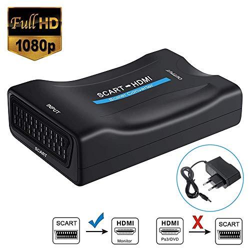 SCART a HDMI Convertidor, Neefeaer Adaptador Scart a HDMI Compatible con 1080P Compatible para HDTV, DVD BLU-Ray, Monitor, Proyector, STB, VHS, PS1, PS2, Xbox, Wii