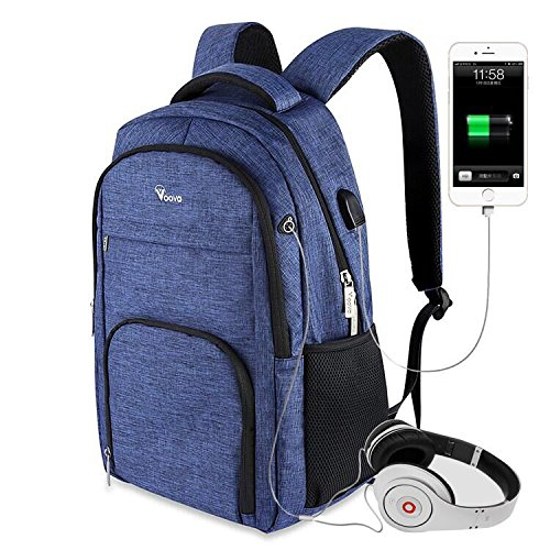 voova Business Rucksack bis 39,6cm Slim Laptop Rucksack Reisen Leicht Wasserdicht Notebook Umhängetasche mit iPad/Tablet Pocket für Mann Frauen Schule Daypack–Blau (Licht Camping-womens)