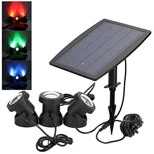bondwl Éclairage solaire - 1800 mAh batterie, Rouge Vert Bleu LED, 160 Lumens, étanche IP68, 50000 heures vie