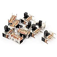 DealMux a15062200ux0749 3 Position 2P3T 8 Pin PCB Panel Mini Micro Right Angle Slide Switch, 10 Piece