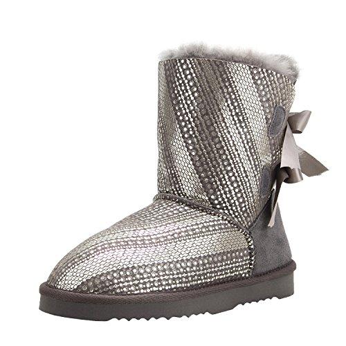 Shenduo Damen Kunstfell Stiefel Halb Schlupfstiefel Warm Winterschuhe Schleifen Boots D5078 Grau 38 (Leder Handgefertigten Stiefel)