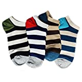 EIO Men's and Women's Natural Cotton Loafers, Low Cut Foot Cover Socks (4 Pairs) (1 Size, Multi-Colour)
