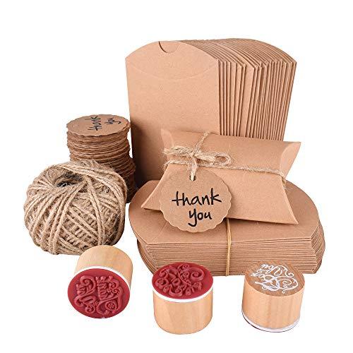 Gudotra kit 100 scatoline portaconfetti kraft+100 bigliettini bomboniere+30m corda++3 timbri per matrimonio laurea battesimo compleanno scatole confettata caramelle