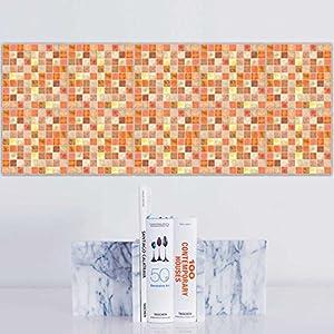 JY ART X 20 stück Fliesenaufkleber für Küche und Bad   Mosaik-Stil Designs wandfliesen Aufkleber für Fliesen   Fliesen-Aufkleber Folie   Deko-Fliesenfolie für Küche u. Bad (HL108), Orange, 15 * 15cm