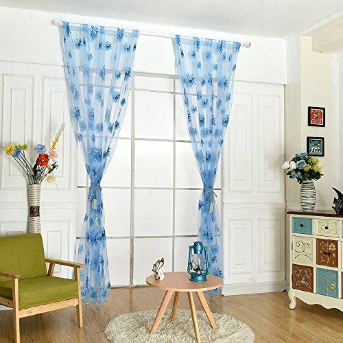 Pinzhi Volants Tulle Voile Tür Fenster Vorhang Drape Panel Sheer-Schal Teiler (Blau ) (Fenster Volant Blau)