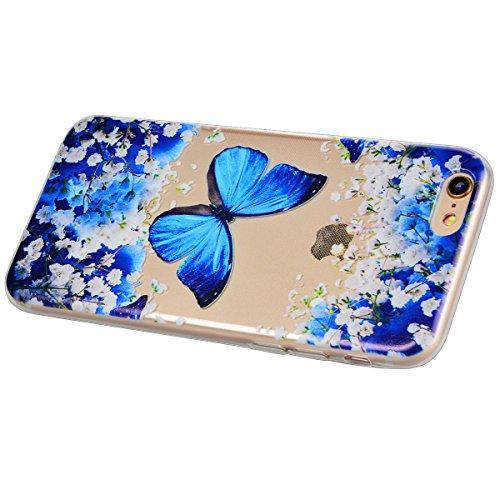 iPhone 6 / 6S Coque HB-Int 3 en 1 Blanc TPU Housse Etui pour iPhone 6 / 6S 4.7'' Originale Motif Coque Gel Silicone Souple Case Couverture Ultra Slim Cover Flexible Bumper Protecteur Fonction Anti Cho Bleu Papillon