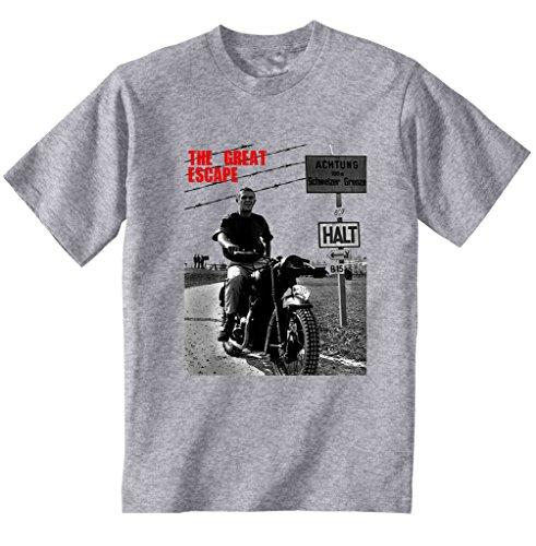 teesquare1st Men's Steve McQueen The Great Escape T-Shirt Grigia da Uomo Small Size