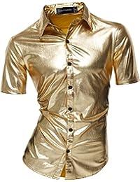 Sportrendy Herren Freizeit Hemden Slim Button Down Short Sleeves Dress  Shirts Tops JZS055 18e600b2ba