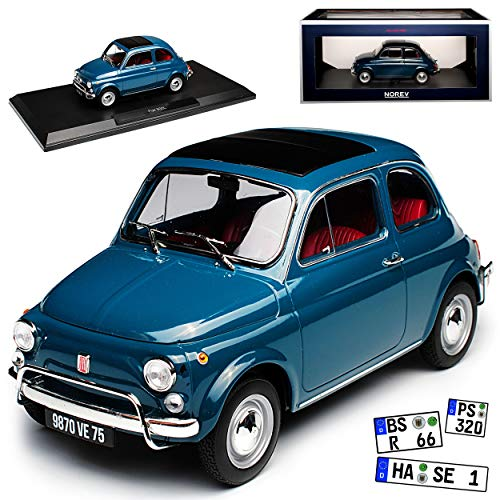 Norev FIAT 500L Nuova Urmodell Blau Grau 1957-1977 1/18 Modell Auto mit individiuellem Wunschkennzeichen