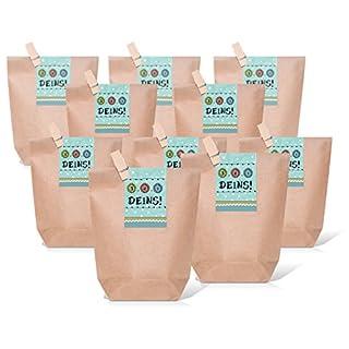 25 kleine braune Geschenktüten inkl. Holzklammer + Aufkleber - Verschluss Sticker in blau türkis mit