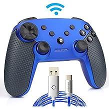 momen Switch Pro Controller, Wireless Switch Controller, mit LED-Ladekabel Typ C (blau)