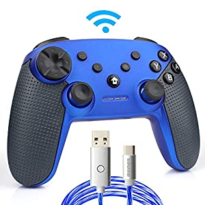 momen Switch Pro Controller, Wireless Switch Controller, mit LED-Ladekabel Typ C (blau)