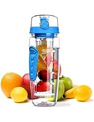 Botella de Agua Deportiva de 900ml con Infusor de Esencia de Frutas sin BPA,Omorc Botella de Agua de Tritan con Filtro ProtectorLibre de Toxinas,Resistente a los Golpes y al Impacto,se Incluye un Cepillo de Limpieza-Azul