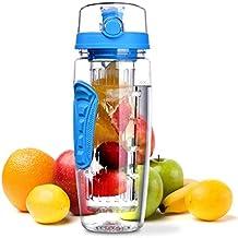OMORC Bottiglia Infusore Frutta 1 Litro, Borraccia Tritan Resistente senza BPA, Coperchio a Tenuta Impugnatura Antiscivolo con Spazzolino di Pulizia, per Auto Palestra Yoga e altri Sport, Blu