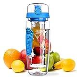 OMORC Bottiglia Acqua Detox 1 Litro con Infusore di Frutta, Borraccia Detox di Tritan, senza BPA, a Prova di Perdite, con Spazzolino di Pulizia, Portatile per Sport, Casa - Freddo Blu