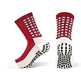 Snocks  Herren Tru Socken (Anti-Rutsch Fußball Socken Mit Noppen An der Sohle), 1x Rot, 38 - 46