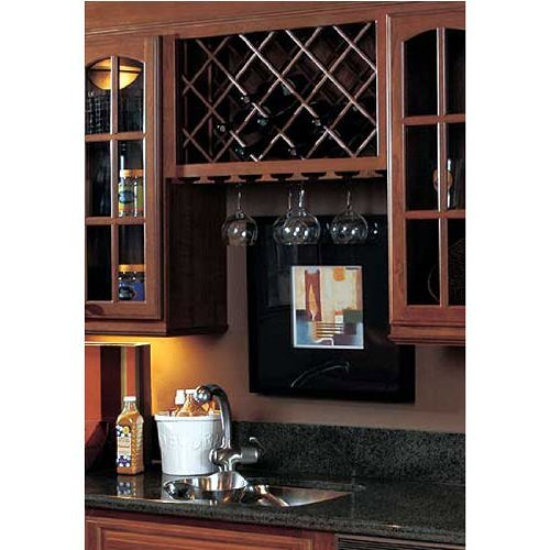 Omega National Cabinet Mount Wine Lattice, 14 Bottle Capacity, 17 inch W x 36 inch H, Maple Unfinished Wood by National