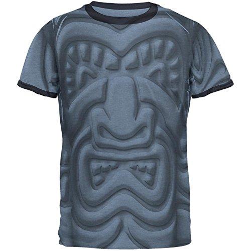 Old Glory Tiki Gott Schwarz Gesicht Luau Mens Ringer T-Shirt Heather Blue-Navy LG