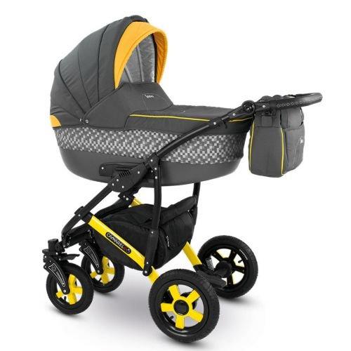 Camarelo CARERA Kombikinderwagen - Kinderwagen - Buggy Farbe XCA-3 dunkelgrau/gelb
