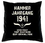 Hammer Jahrgang 1941 Sprüche Kissen 40x40 für die ganze Familie Geschenk zum 77 Geburtstag Geburtstagsgeschenk Mama Papa Oma Opa: schwarz