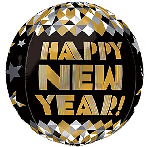 erdbeerloft - Silvesterdeko-Happy New Year Grafik Ballon 40cm ungefüllt, Schwarz