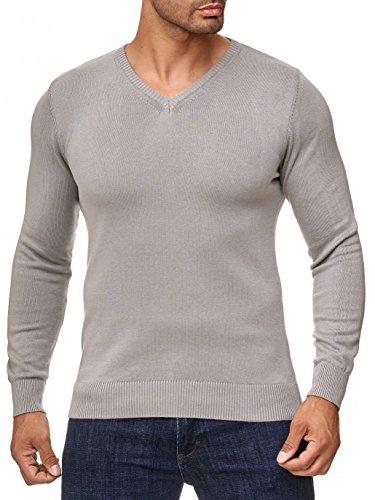 BARBONS Herren Pullover mit V-Ausschnitt - Slim-Fit - Hochwertige Baumwollmischung - Feinstrick-Pullover - Grau M