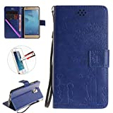 Huawei honor 5C Wallet Case , NEWSTARS Folio Flip Cover Print Printing Cell Phone Lovers Embossing Mobile Cover Protect Skin Leather Case For Huawei Honor 5C Phone With Strap Kickstand Card Holder ID / Cash Pocket / Card Slots +1Pcs Screen Protector + 1Pcs Stylus Touch Pen.Dandelion Blue