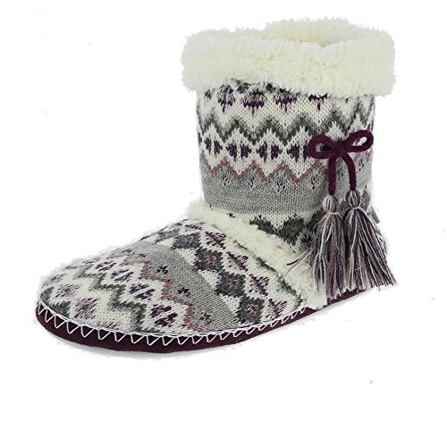 Totes Fair Isle Bootie Chaussons Gris/berry Gris/berry