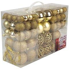Idea Regalo - Christmas Gifts Valigia 100 Pezzi Palle di Natale Oro, Gold, 100x