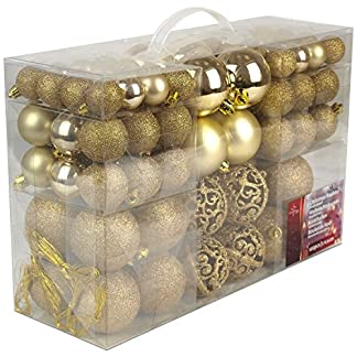 Unbekannt Christmas Gifts–Bolas de Navidad, plástico, plástico, Dorado, 70x