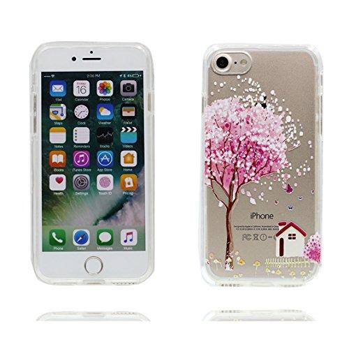 iPhone 7 Custodia / iPhone 7 Copertura / Cartoon Ragazza fiore, Materiale in gomma trasparente al silicone contro graffi, iPhone 7 Case 4.7 color 7
