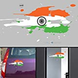 WallDesign India Flag Jai Bharath Flag Car Stickers for Body / Glass / Wall - Colour Splash Design